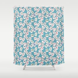 Mahjong Tiles Jumbled Across Aqua Background With Swirls Shower Curtain