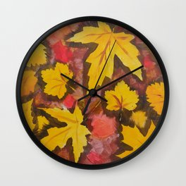 Autumn Leafs Red Yellow Brown Fall pattern based on the acrylic painting Wall Clock