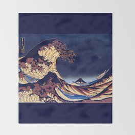 The Great Wave Off Kanagawa Inverted Katsushika Hokusai Throw Blanket
