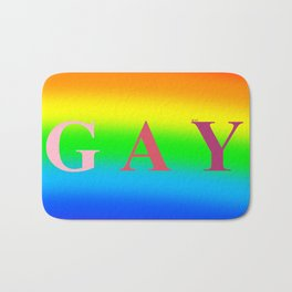 GAY (Rainbow Background) Bath Mat