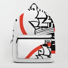 Galleon Ship Wolf on Bow Circle Retro Backpack