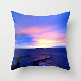 Blue Sunset in Cannes La Bocca Throw Pillow