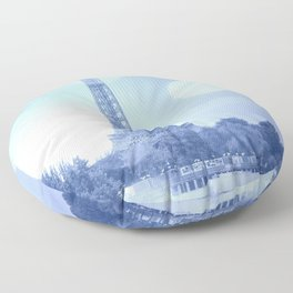Paris Eiffel Tower Blue Floor Pillow