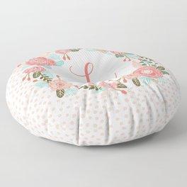 Monogram L - cute girls coral florals flower wreath, coral florals, baby girl, baby blanket Floor Pillow