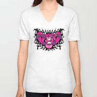 beaver V-neck T-shirts featuring Evil Beaver by harebrained