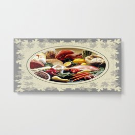 Thanksgiving Dinner and Autumn Decoration. Metal Print