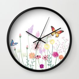 Floral ,botanical,butterflies design Wall Clock
