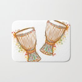 Drums tam tam with splashes in watercolor style Bath Mat