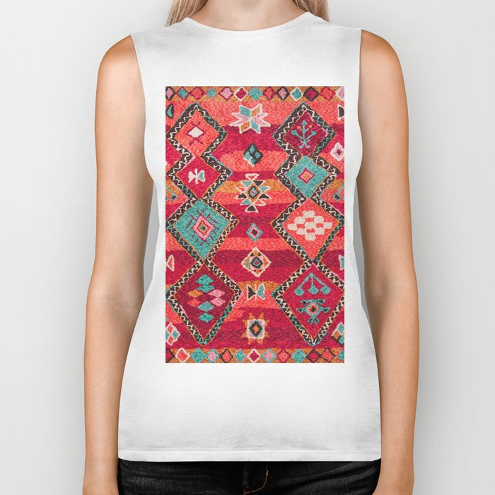 18 - Traditional Colored Epic Anthique Bohemian Moroccan Artwork Biker Tank