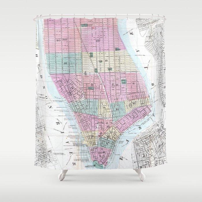 Vintage Map of Lower Manhattan (1865) Shower Curtain