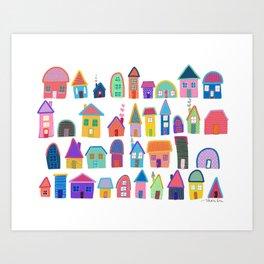Colorful Neighbors Illustration (White) Art Print