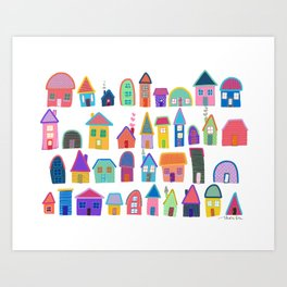 Colorful Neighbors Illustration (White) Art Print