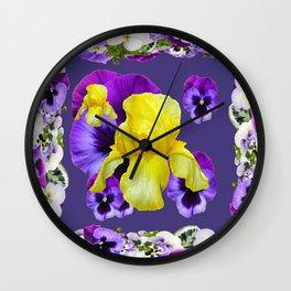 VIGNETTE OF  PURPLE & WHITE PANSIES YELLOW IRIS Wall Clock