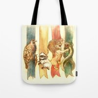 potter Tote Bags featuring House Brawl by Alice X. Zhang