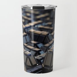 Abstract Geometric Metal Macro City 3D Blue Steel with Depth of Field Travel Mug