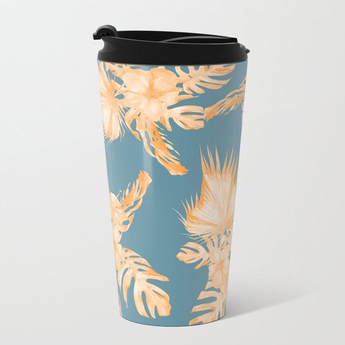 Hawaiian Hibiscus Palm Orange Teal Blue Metal Travel Mug