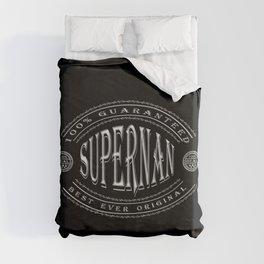 100% Best Ever Original Supernan (white badge on black) Duvet Cover