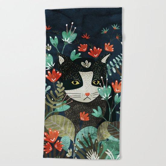 Curious Cat Beach Towel