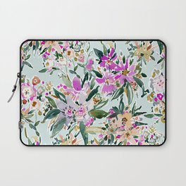 SWEPT AWAY Powder Blue Tropical Floral Laptop Sleeve