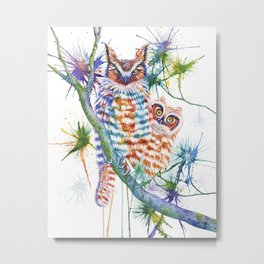 Momma and Baby Owls Metal Print