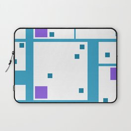 Violet Rectangle with turquoise Lines Laptop Sleeve