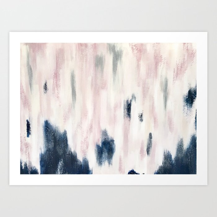 Blush Pink and Blue Pretty Abstract Kunstdrucke