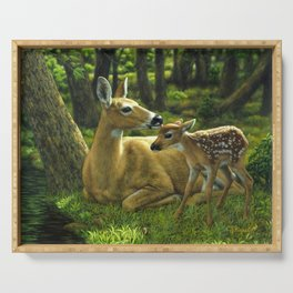 Whitetail Deer and Cute Spring Fawn Serving Tray
