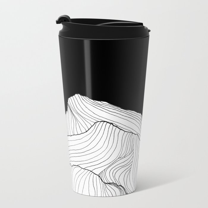 Lines in the mountains - b&w Metal Travel Mug