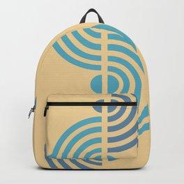 Semi Circle Waveforms - Minimal Geometric Print - Blue, Wheat Backpack