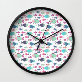 Modern neon pink teal polka dots cute nautical fish illustration Wall Clock