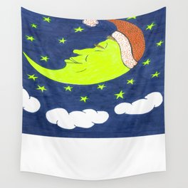 Mr. Moon Sleeping Wall Tapestry