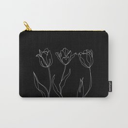Floral line drawing - Three Tulips Black Carry-All Pouch