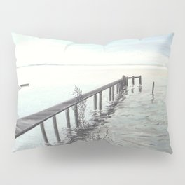 Bootssteg am Ammersee in Bayern - Ölbild Pillow Sham