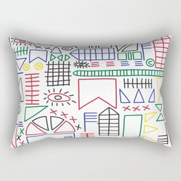 Basquiat & Volpi inspired pattern  Rectangular Pillow