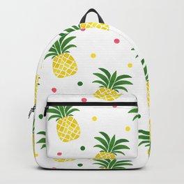Tropical fruit sunshine yellow green pineapple polka dots Backpack