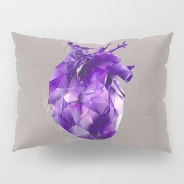 polygon heart // ultraviolet & silver Pillow Sham