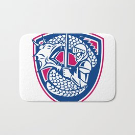 Dragon and Knight Fighting Crest Bath Mat