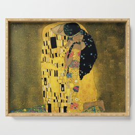 Curly version of The Kiss by Klimt Serving Tray