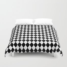 Classic Black and White Harlequin Diamond Check Duvet Cover