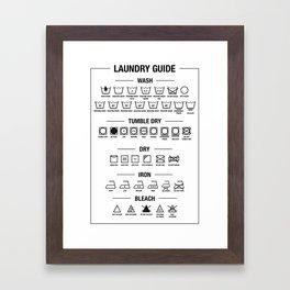 Laundry guide, washing symbols Framed Art Print