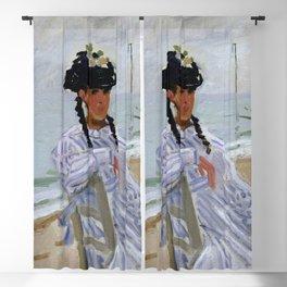 Claude Monet - Sur la plage à Trouville Blackout Curtain