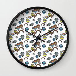 Hot Air Balloon Rainbows Wall Clock