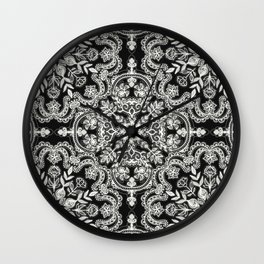 Black & White Folk Art Pattern Wall Clock