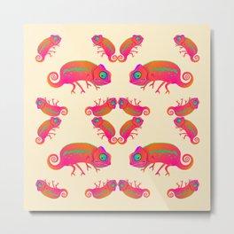 Chameleon. Chameleon Kaleidoscope. Ornament. Metal Print