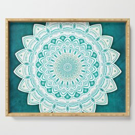 White Mandala on Blue Green Distressed Background with Detail and Textured Serving Tray