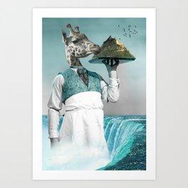 giraffe waiter with bombe alaska Art Print