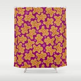 Gingerbread Men on Purple Shower Curtain