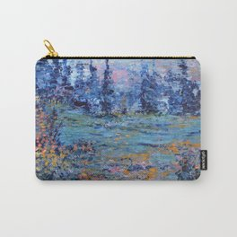 Abstract Landscape Palette Knife Painting, Rainbow Lake, Navy Blue, Gold, Green Carry-All Pouch