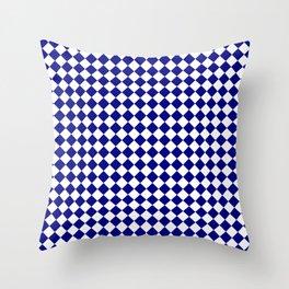 White and Navy Blue Diamonds Throw Pillow