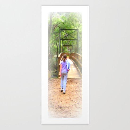 Girl and Bridge Art Print